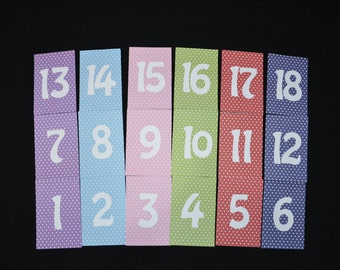 4x6 Table Numbers cards 1-18, 4x6 Wedding Reception Table Numbers, Multicolored table numbers, Card numbers for frames,