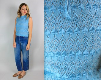 Vintage 50's perforated Knit cropped blouse
