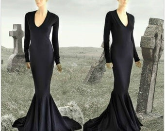 Black Zen Soft Knit Morticia V-Neck Gown with Long Sleeves and Puddle Train 152799