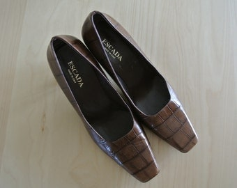 Escada Heels Made in Italy Brown Reptile Embossed Square Toe Size 9 B