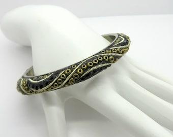 Black Bead Bangle, Vintage Boho Bangle, Brass Studs, Silver Tone Bracelet