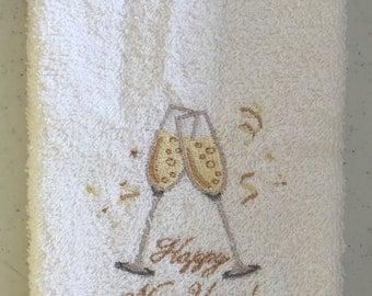 Embroidered ~NEW YEARS Toast~ Kitchen Bath Hand Towel