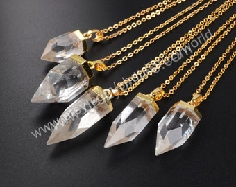 """Wholesale 16"""" Simple Gold Plated Cap Natural White Quartz Point Necklace Natural Crystal Spike Gemstone Necklaces Fashion Jewelry G1009-N"""
