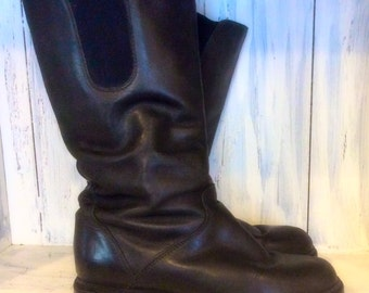 Black Leather women's  boots size 8, Siberian husky black leather women's boots,vintage women's leather boots,wide calf leather boots