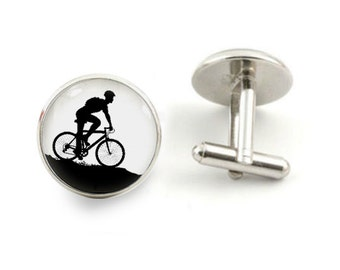 mountain bike cufflinks bike cuff links wedding cufflinks biking cuff links bike gifts - with free jewelry box
