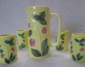Yellow Ceramic Strawberry Breakfast Juice Set