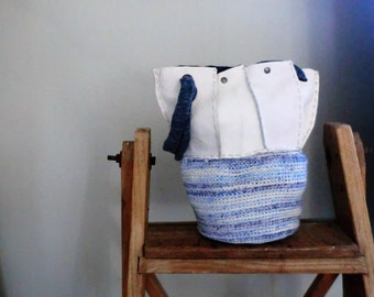 Eco leather hooked cotton bag recycled Italian leather shouderbag woman, gift for her, summerbag. From JJePa