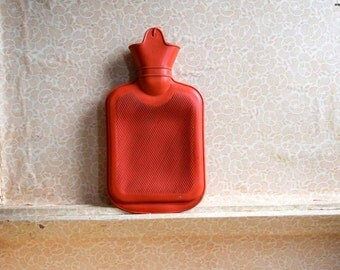 Vintage Soviet Era Red Rubber Hot Water Bottle