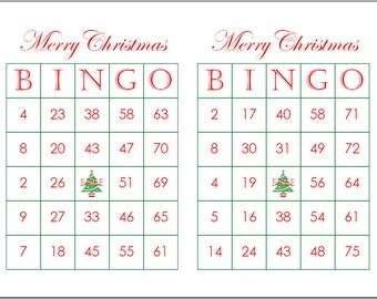 100 Merry Christmas Bingo Cards, 2 per page, Fun Christmas Party Game, immediate pdf download