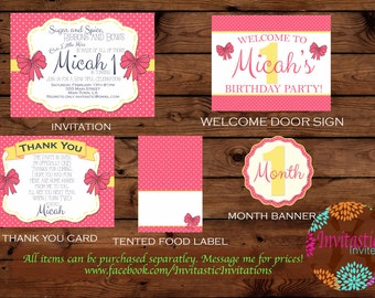 Hair Bow 1st Birthday Package - Pink and Yellow, Bow Girl Party theme - 1st birthday -banner, topper, invitation, Thank you