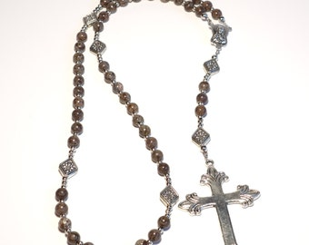 Handcrafted Catholic Saints Rosary Necklace Beaded Chain - Brown