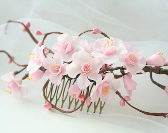 Cherry blossom comb, Wedding flower comb, Bridal flower comb, Bridal flower headpiece, spring wedding, sakura blossom