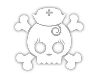 Nurse - Skull n Crossbones decal