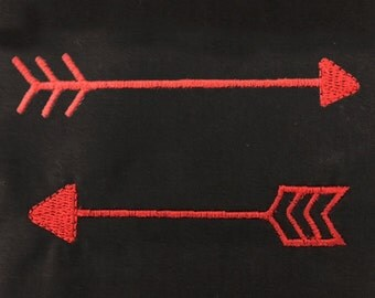 Small whimsical arrow machine embroidery designs.  These two arrow styles come in 4 different sizes each.