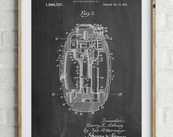 Hand Grenade World War 1 Patent Poster, Military Art, Man Cave, Army Wall Decor, WW1, PP0868