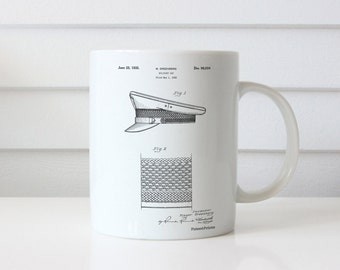 Military Hat 1935 Patent Mug, Military Gift, Fashion Illustration, Police Gift, PP0623