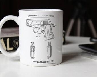 Sig Sauer P220 Pistol Patent Mug, Gun Enthusiast, Gun Mug, Handgun, Police Gift, PP1034