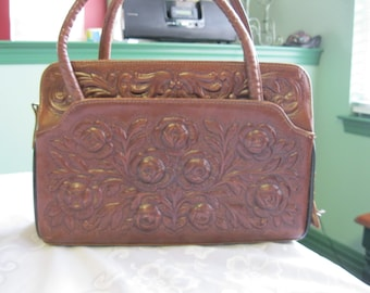 Vintage Hand Tooled Leather Handbag with Roses and Mayan Calendar