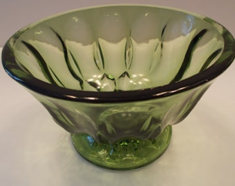 Vintage Anchor Hocking Green Pedestal Glass Bowl