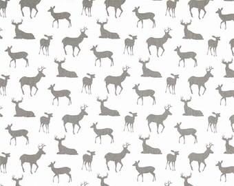 Deer Silhouette Fabric, Gray Deer Fabric, Premier Prints Deer Silhouette Twill White/Storm Drapery Fabric, Deer Fabric Gray  by the 1/2 Yard