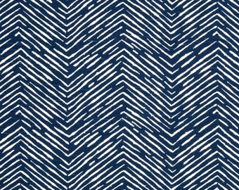 Tribal Basket Weave Navy Blue Fabric, Cameron Navy, Designer Cotton Upholstery Fabric, Tribal Thatch Navy Drapery Fabric - By the 1/2 Yard