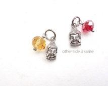 Tiny Buddha Charm in dull silver for Kimono Bracelets choker necklace, Deity god charm with a glass bead - pick your glass bead