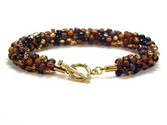 brown and gold beaded bracelet brown kumihimo bracelet with