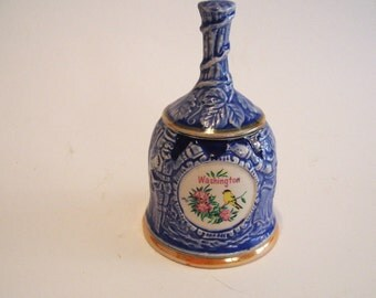 Vintage Washington Souvenir Bell with Blue Raised Relief