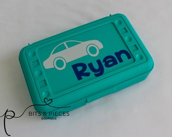 Personalized Back to School Pencil Box - Cars