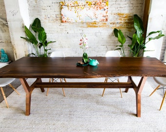 "Live Edge Walnut Dining Table, Conference Table, Live Edge Dining Table, Claro Walnut Dining Table, Modern Dining Table, ""The April"""