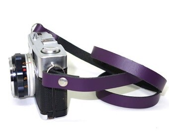 Handmade Leather Camera Neck Strap - Purple