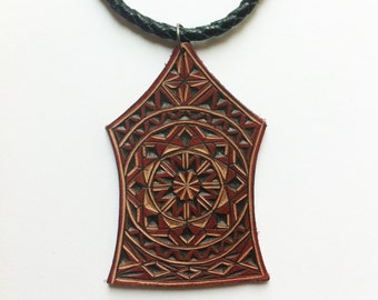Carved leather pendant - tooled leather jewelry
