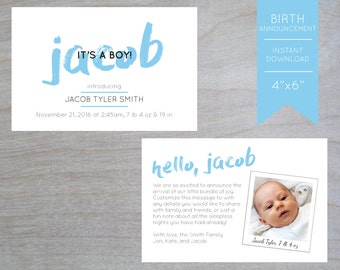 Birth Announcement Download - Baby Boy - Printable & Custom - Simple/Elegant