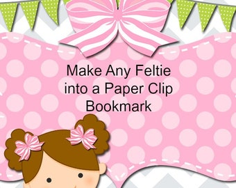 Custom Felt Paper Clip Bookmark, planner clip, planner paper clip, felt bookmark, paperclip bookmark, feltie paperclip,  teacher gift