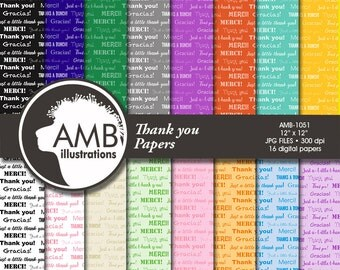 Thank you Digital papers, Special occasion patterns, Graduation digital papers, scrapbook papers, commercial use, AMB-1051