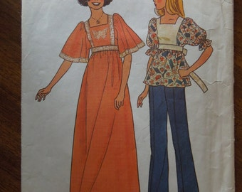 Simplicity 7435, sizes 11-12, misses, juniors, teens, dress or top, sewing pattern, craft supplies