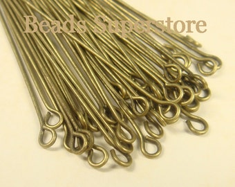 SALE 2 Inch (50 mm) Antique Bronze Eye Pin - Nickel Free and Lead Free - 100 pcs (EP2AB)