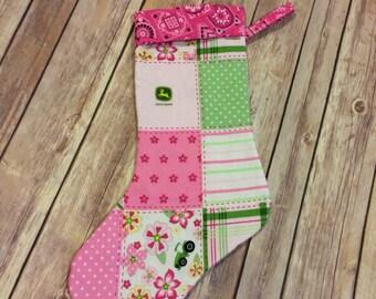 Pink John Deere Christmas Stocking