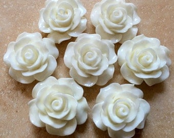 10 pcs 19 mm Off White Cabochon Flower,Off White Rose cabochon,Resin Flower,flat back flower,rose cabochon,flower kit,Purple resin flower
