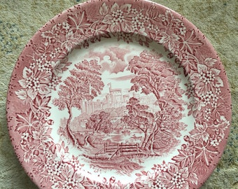 Pink and red luncheon plate