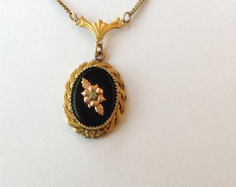 Victorian Necklace Pendant Black Onyx 10kt GF Collectible