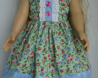 18 Inch Doll Dress/Green, Pink, Blue Summer Dress with Buttons and Lace