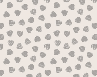 Lewis & Irene Patchwork Quilting Fabric Dove House A168.2 - Grey hearts on light cream