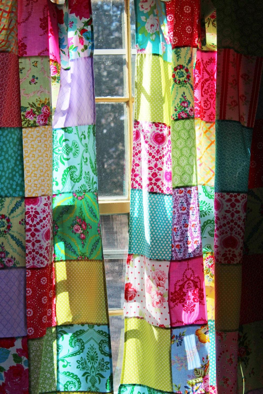 Patchwork Curtains Set Of 2 Panels Boho Window Treatment