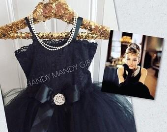 Black Audrey costume set dress-Black tutu dress-Fancy pearled black tutu dress-tiara headband included and pearl necklace