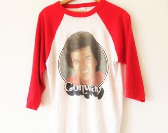 Vintage 1980s Conway Twitty Raglan Baseball Ringer Sz L