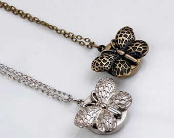 Butterfly pocket watch necklace pendant, changeable battery watch necklace,vintage style watch,80cm necklace chain P34
