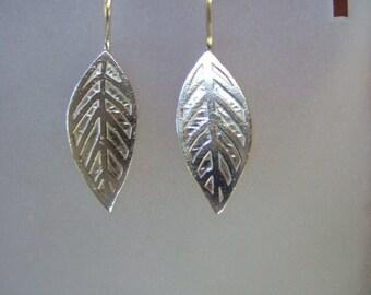 Sterling Silver Leaf Earrings, Shiny, Modern, Simple, Everyday Wear