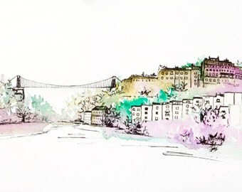 Watercolour painting of Bristol Suspension Bridge and Clifton