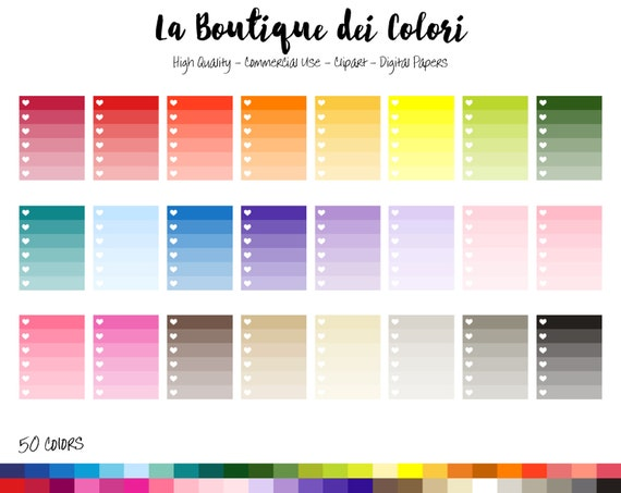 50 Rainbow Ombre Checklist Clipart Cute Graphics PNG Heart